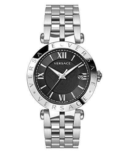 Versace V-Race Black Dial Mens Stainless Steel Watch