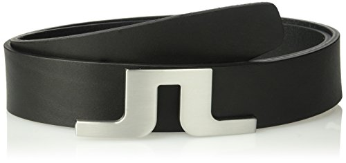 J.Lindeberg Men's Bridge Logo Leather Belt, Black, 85