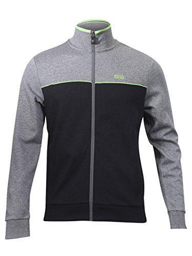 Hugo Boss Green Men's Skaz US Cotton Track Jacket Cotton Blend Black (Large)