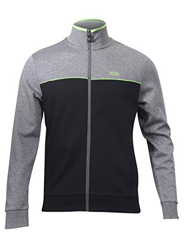 Hugo Boss Green Men's Skaz US Cotton Track Jacket Cotton Blend Black (Large)
