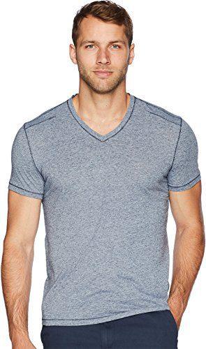 John Varvatos Star USA Men's Short Sleeve Soft Heather V-Neck with Pickstitch Blue/Stone Large