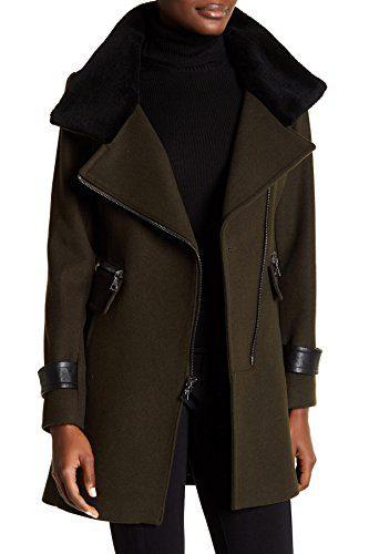 Trina Turk Moto Zip Women's Spread Collar Jacket Wool Green 12