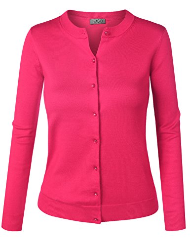 BIADANI Women Pearl Button Down Long Sleeve Soft Knit Cardigan Sweater Magenta Large