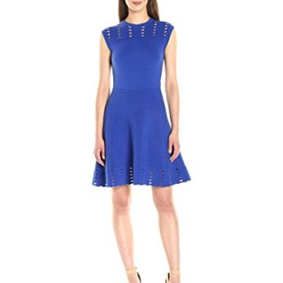 Ted Baker Women's Zaralie Jacquard Panel Skater Dress, Blue, 2