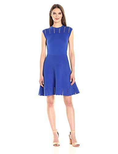 Ted Baker Women's Zaralie Jacquard Panel Skater Dress, Blue, 2