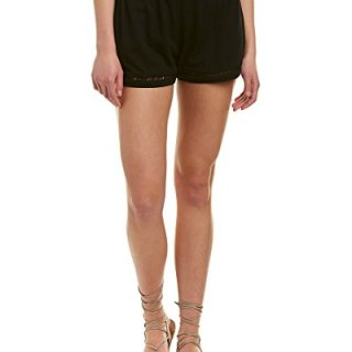 Michael Stars Women's Cotton Modal Shorts with Ladder Trim, Black, L