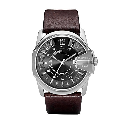 Diesel Men's Master Chief Quartz Stainless Steel and Leather Casual Watch, Color Silver-Tone, Brown (Model: DZ1206)