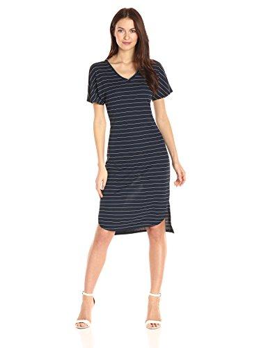 A|X Armani Exchange Women's V Neck Shortsleeve Midi Pinstripe Dress, Navy, X-Large