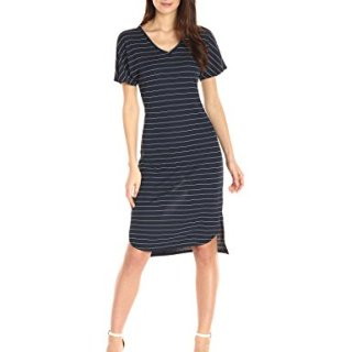 A|X Armani Exchange Women's V Neck Shortsleeve Midi Pinstripe Dress, Navy, X-Large