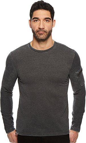 John Varvatos Star USA Men's Long Sleeve Crewneck, Metal Grey, Extra Large