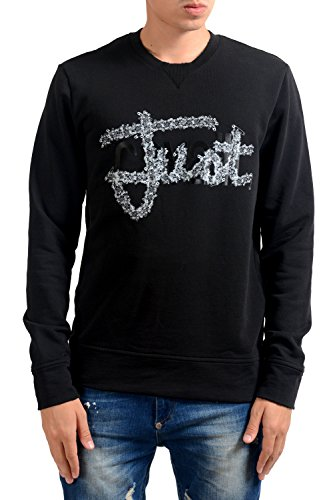 Just Cavalli Men's Black Graphic Long Sleeve Crewneck Sweatshirt US M IT 50