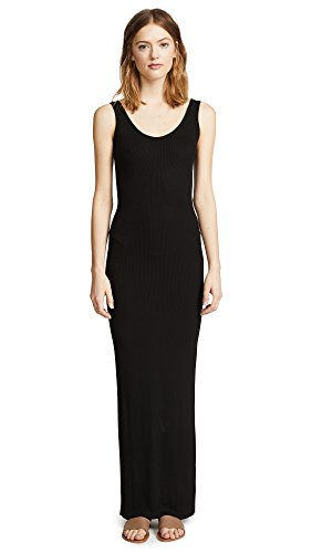 Enza Costa Women's Ribbed Tank Maxi Dress, Black, Medium