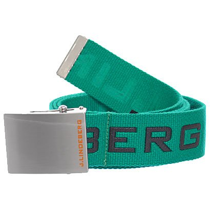 J.Lindeberg Men's Plainer Logged Webbing Golf Belt, Green, One Size