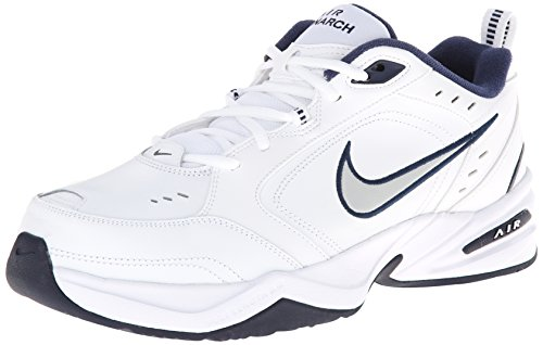 Nike Men's NIKE AIR MONARCH IV (4E) RUNNING SHOES -12; White / Metallic Silver-Midnight Navy