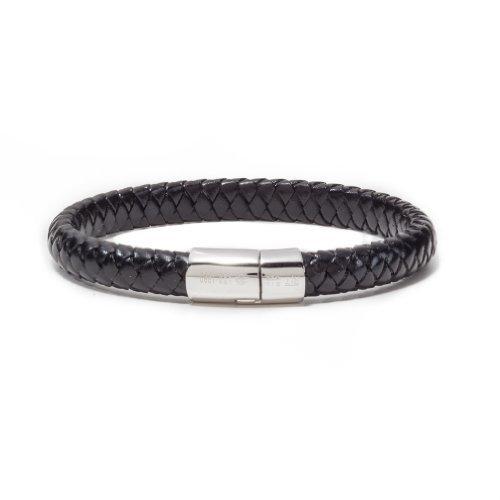 Tateossian Men's Leather Classic Cobra Bracelet with Silver Clasp, Large 19.5 cm - Black