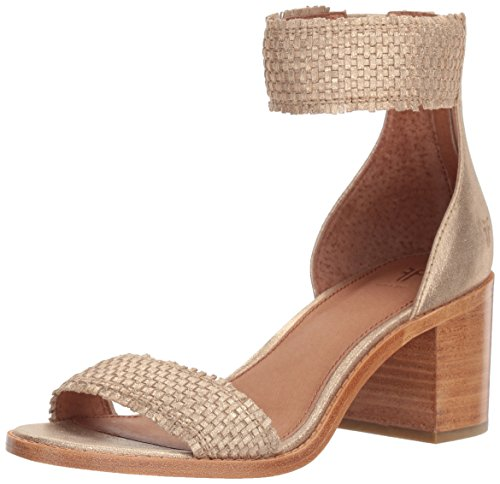 FRYE Women's Bianca Woven Back Zip Heeled Sandal, Gold, 7.5 M US