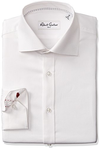 "Robert Graham Men's Classic Fit Joy Solid Dress Shirt, White, 17.5"" Neck 36"" Sleeve"