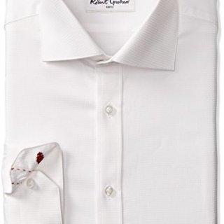 "Robert Graham Men's Classic Fit Joy Solid Dress Shirt, White, 17.5"" Neck 36"" Sleeve"
