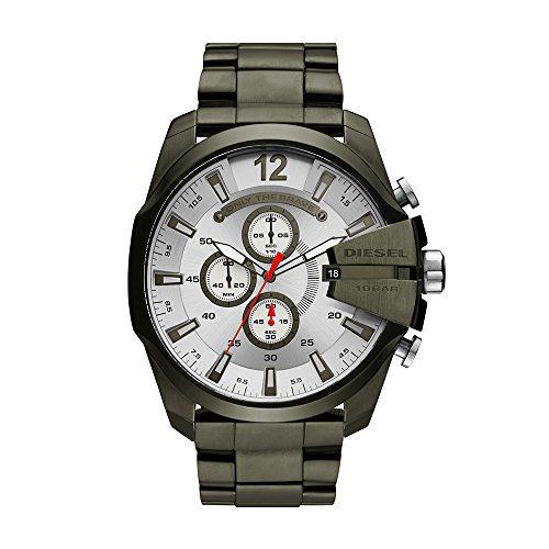 Diesel Men's Mega Chief Quartz Stainless Steel Chronograph Watch, Color Green (Model: DZ4478)