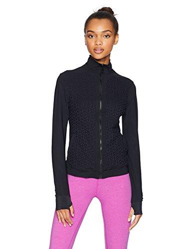 Trina Turk Recreation Women's Plush Jacquard Front Zip Sport Jacket, Black, Small