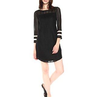 A|X Armani Exchange Women's Lace Jacquard Shirt Dress, Black, L