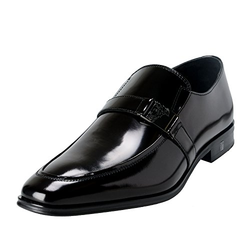 Versace Collection Men's Black Polished Leather Loafers Shoes US 10 IT 43;