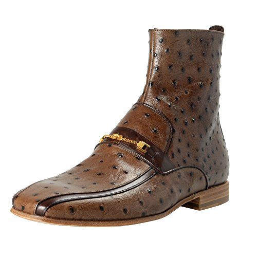 Versace Men's Brown Ostrich Skin Leather Ankle Boots Shoes Sz US 9 IT 42