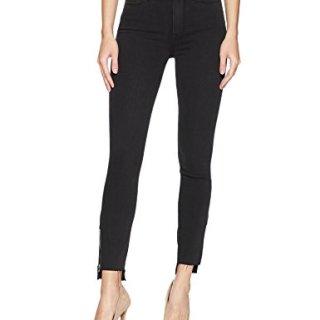 PAIGE Women's Margot Crop Jeans, Black Fog Zip Uneven Hem, 28