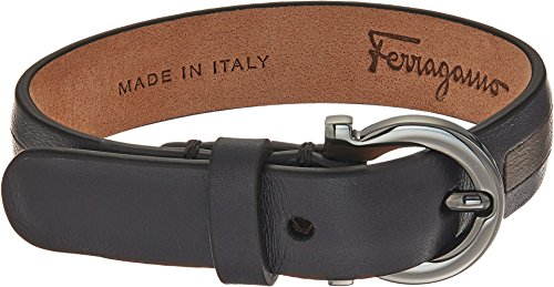 Salvatore Ferragamo Men's Bicolor Gancini Bracelet Ebony/Costola Sepia/Rutenio Ultra Blue One Size