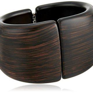 Kenneth Jay Lane Dark Wood Front Closure Hinged Cuff Bracelet