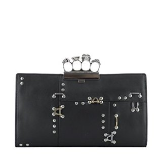 Alexander Mcqueen Women's Black Leather Clutch