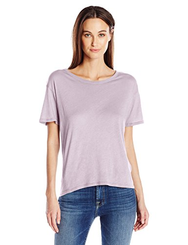Enza Costa Women's Tissue Cotton Short Sleeve Boy Tee, Heather, S