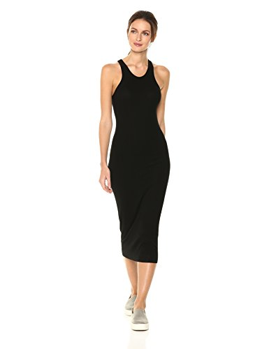 Enza Costa Women's Rib Sheath Tank Midi Dress, Black, M