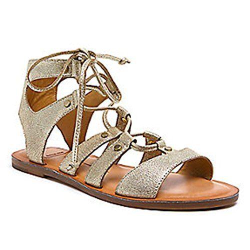 Dolce Vita Women's Jasmyn Gladiator Sandal, Gold Lizard Embossed Leather, 8.5 M US