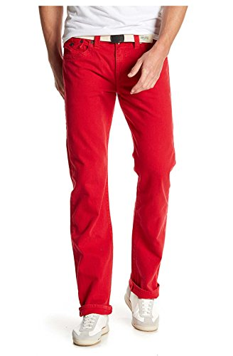 True Religion Men's Ricky Relaxed Straight with Flaps, True Red, 31