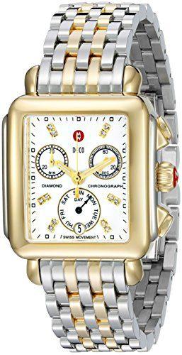 MICHELE Women's Deco Analog Display Swiss Quartz Two Tone Watch