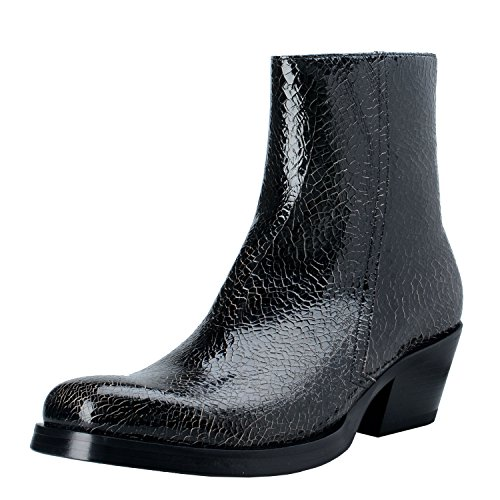 Versace Men's Black Cracked Leather Cowbow Ankle Boots Shoes US 9 IT 42;