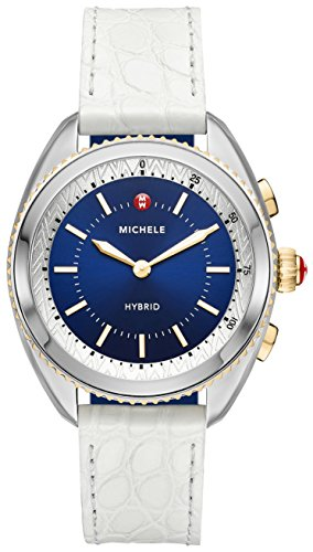 Two-Tone Navy Dial White Alligator and Navy Silicone Hybrid Smartwatch