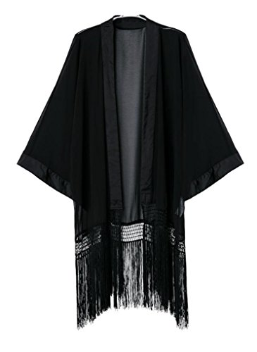 OLRAIN Women's Tassel Long Loose Kimono Cardigan Black (Medium)