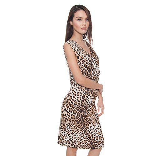 Class Roberto Cavalli Women's Animal Print Asymmetric Draped Dress
