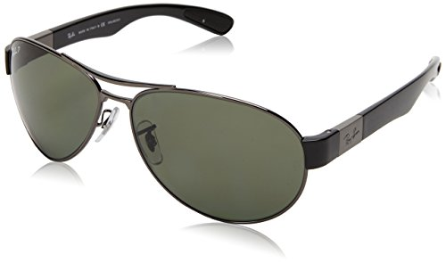 Ray-Ban GUNMETAL Frame POLAR GREEN Lenses 63mm Polarized