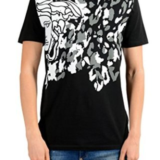 Versace Collection Men's Black Graphic Print T-Shirt US M IT 50