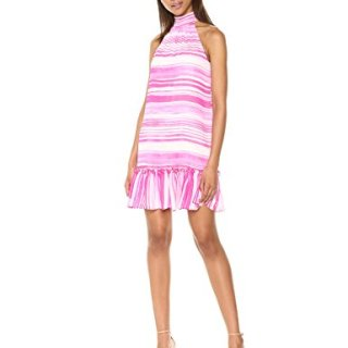 Trina Trina Turk Women's Zuri Mock Neck Sleeveless Dress, Camellia, M