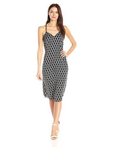 A|X Armani Exchange Women's Cami V Neck Midi Printed Woven Dress, Navy, 6