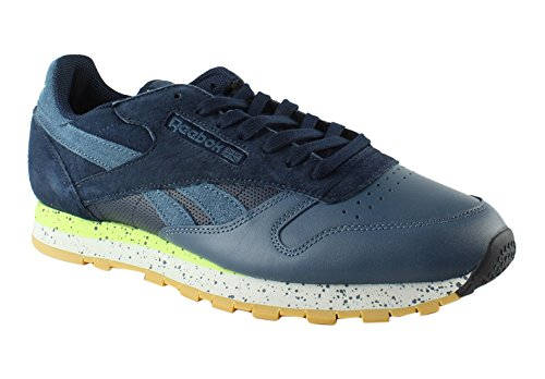 Reebok Men's CL Leather SM Fashion Sneaker, Collegiate Navy/Brave Blue/Skll Gry/Kwgrn-Gum, 10.5 M US