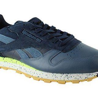 Reebok Men's CL Leather SM Fashion Sneaker, Collegiate Navy/Brave Blue/Skll Gry/Kwgrn-Gum, 10.5 M US