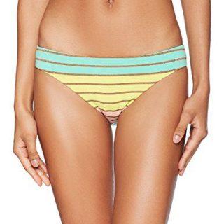 Trina Turk Women's Hipster Bikini Swimsuit Bottom, Yellow/Orange/Green/Lurex Stripe Print, 4
