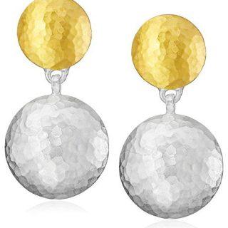 "GURHAN""Lentil"" Post Short-Drop White Silver with Gold Lentil Earrings"