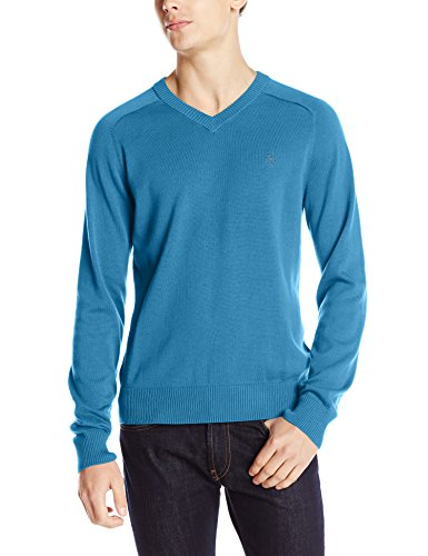 Original Penguin Men's Long Sleeve Fully Fashioned Sweater, Vallarta Blue, X-Large