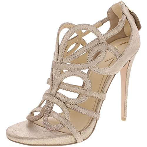 Brian Atwood Womens Tira Metallic Caged Dress Sandals Gold 9.5 Medium (B,M)